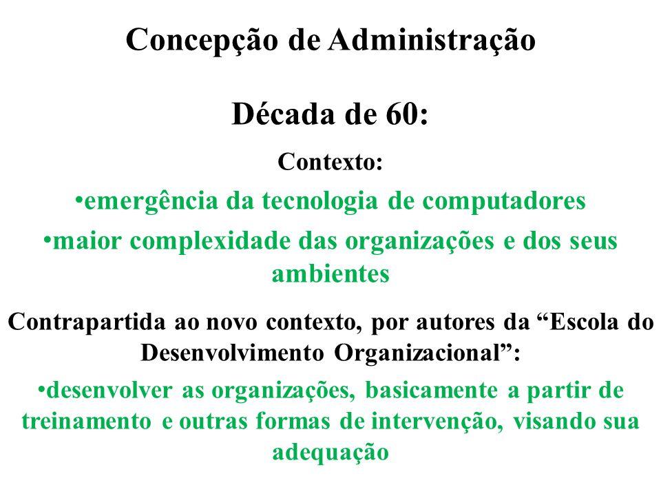 Concepção de Administração Década de 60: Contexto: emergência da tecnologia de computadores maior complexidade das organizações e dos seus ambientes C