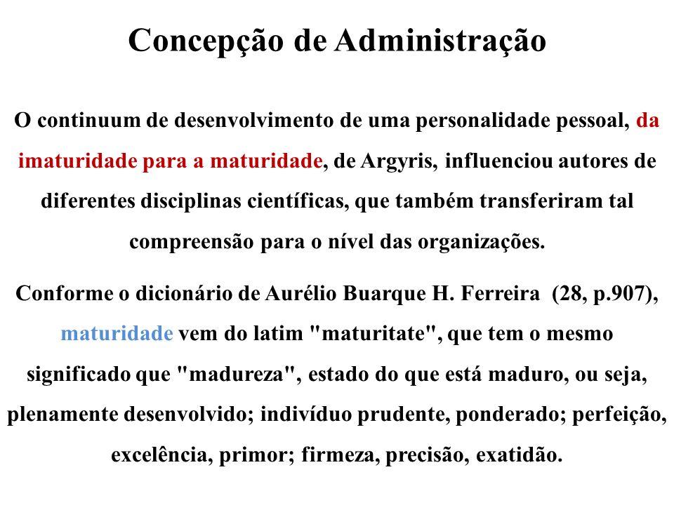 Concepção de Administração O continuum de desenvolvimento de uma personalidade pessoal, da imaturidade para a maturidade, de Argyris, influenciou auto