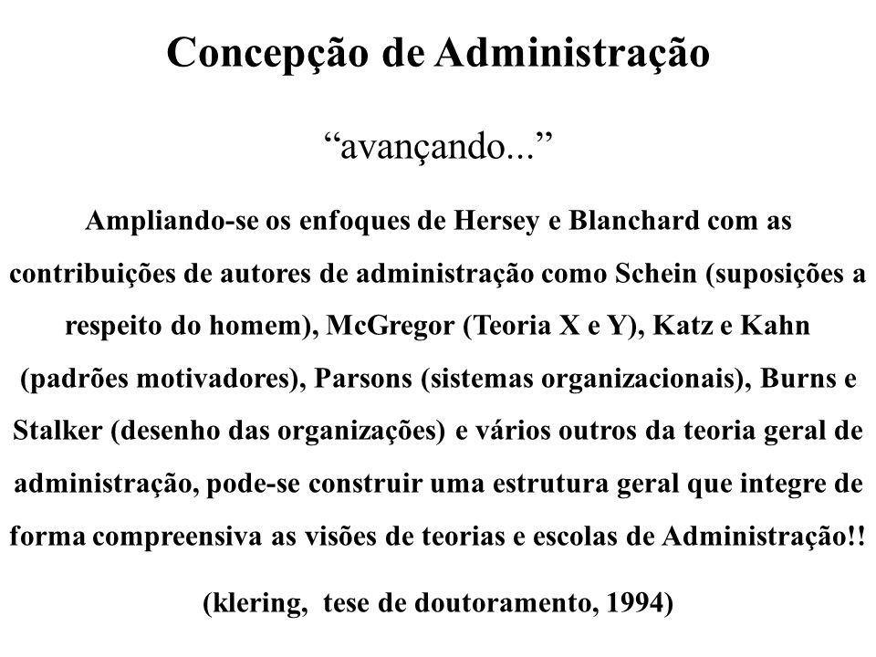 Concepção de Administração avançando... Ampliando-se os enfoques de Hersey e Blanchard com as contribuições de autores de administração como Schein (s