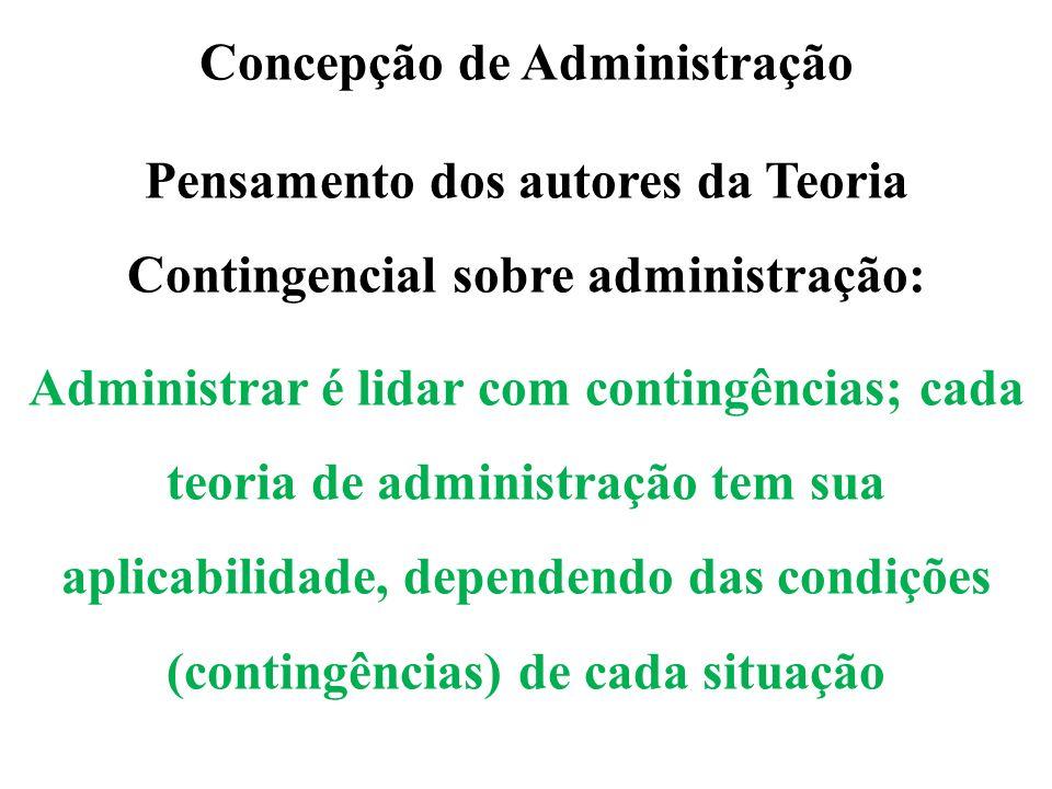Concepção de Administração Pensamento dos autores da Teoria Contingencial sobre administração: Administrar é lidar com contingências; cada teoria de a