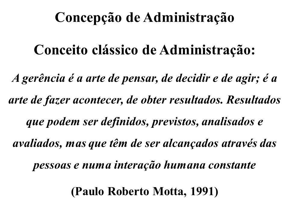 Concepção de Administração Conceito clássico de Administração: A gerência é a arte de pensar, de decidir e de agir; é a arte de fazer acontecer, de ob