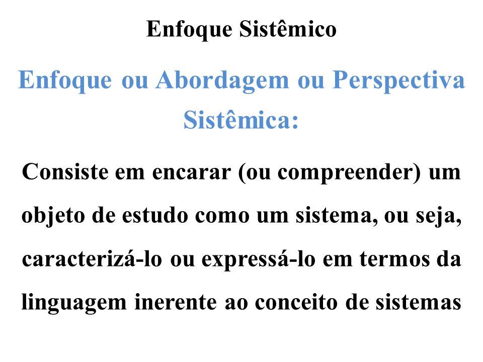 Enfoque Sistêmico Enfoque ou Abordagem ou Perspectiva Sistêmica: Consiste em encarar (ou compreender) um objeto de estudo como um sistema, ou seja, ca