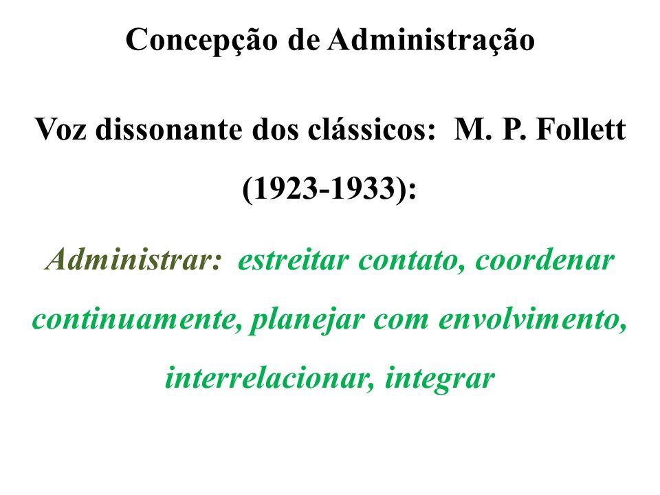 Concepção de Administração Voz dissonante dos clássicos: M. P. Follett (1923-1933): Administrar: estreitar contato, coordenar continuamente, planejar