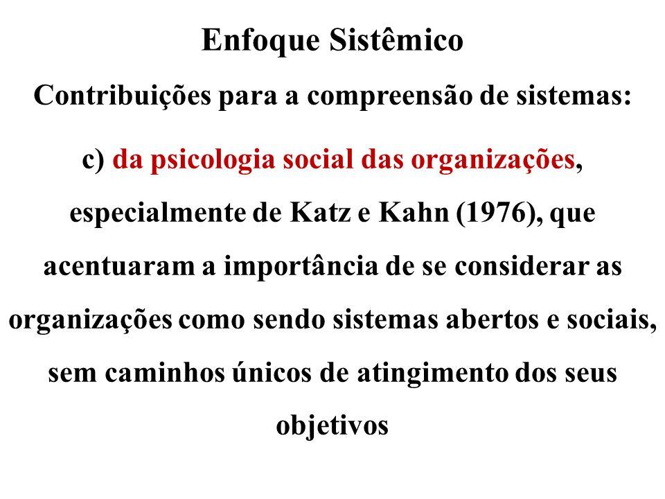 Enfoque Sistêmico Contribuições para a compreensão de sistemas: c) da psicologia social das organizações, especialmente de Katz e Kahn (1976), que ace