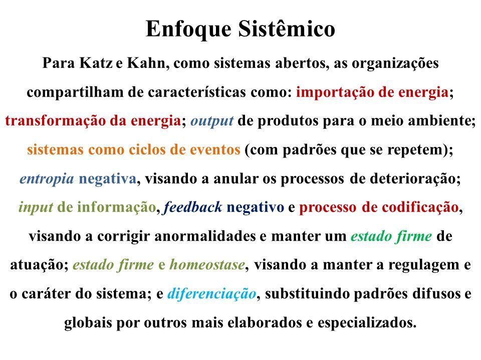 Enfoque Sistêmico Para Katz e Kahn, como sistemas abertos, as organizações compartilham de características como: importação de energia; transformação