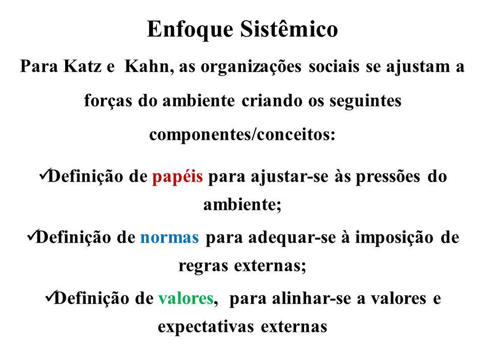 Enfoque Sistêmico Para Katz e Kahn, as organizações sociais se ajustam a forças do ambiente criando os seguintes componentes/conceitos: Definição de p