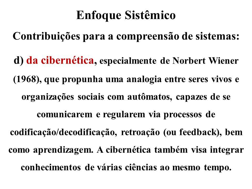 Enfoque Sistêmico Contribuições para a compreensão de sistemas: d) da cibernética, especialmente de Norbert Wiener (1968), que propunha uma analogia e