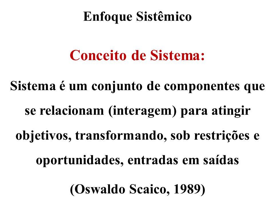 Enfoque Sistêmico Conceito de Sistema: Sistema é um conjunto de componentes que se relacionam (interagem) para atingir objetivos, transformando, sob r