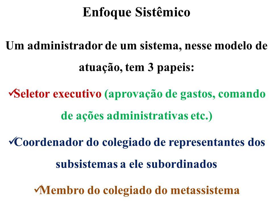 Enfoque Sistêmico Um administrador de um sistema, nesse modelo de atuação, tem 3 papeis: Seletor executivo (aprovação de gastos, comando de ações admi
