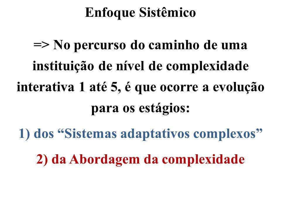 Enfoque Sistêmico => No percurso do caminho de uma instituição de nível de complexidade interativa 1 até 5, é que ocorre a evolução para os estágios:
