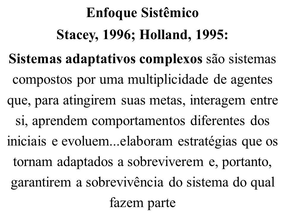 Enfoque Sistêmico Stacey, 1996; Holland, 1995: Sistemas adaptativos complexos são sistemas compostos por uma multiplicidade de agentes que, para ating