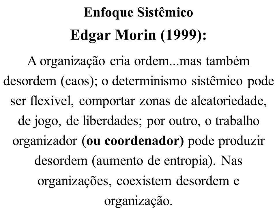 Enfoque Sistêmico Edgar Morin (1999): A organização cria ordem...mas também desordem (caos); o determinismo sistêmico pode ser flexível, comportar zon