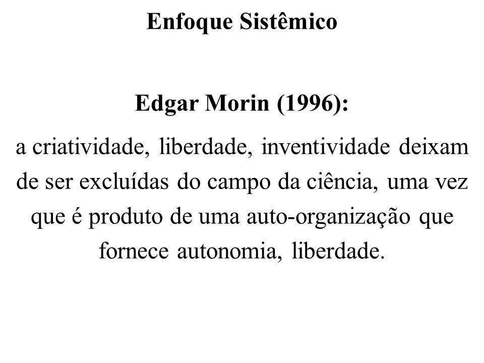 Enfoque Sistêmico Edgar Morin (1996): a criatividade, liberdade, inventividade deixam de ser excluídas do campo da ciência, uma vez que é produto de u