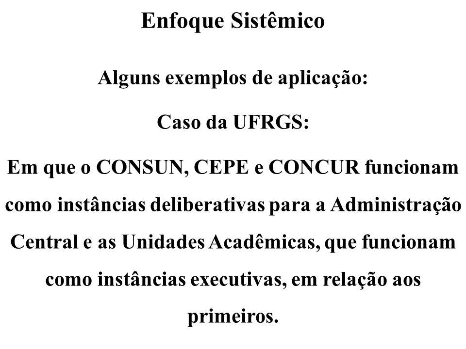Enfoque Sistêmico Alguns exemplos de aplicação: Caso da UFRGS: Em que o CONSUN, CEPE e CONCUR funcionam como instâncias deliberativas para a Administr
