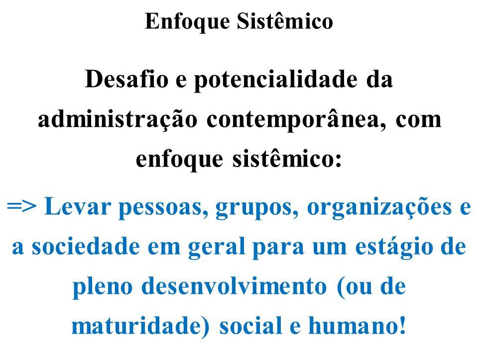 Enfoque Sistêmico Desafio e potencialidade da administração contemporânea, com enfoque sistêmico: => Levar pessoas, grupos, organizações e a sociedade