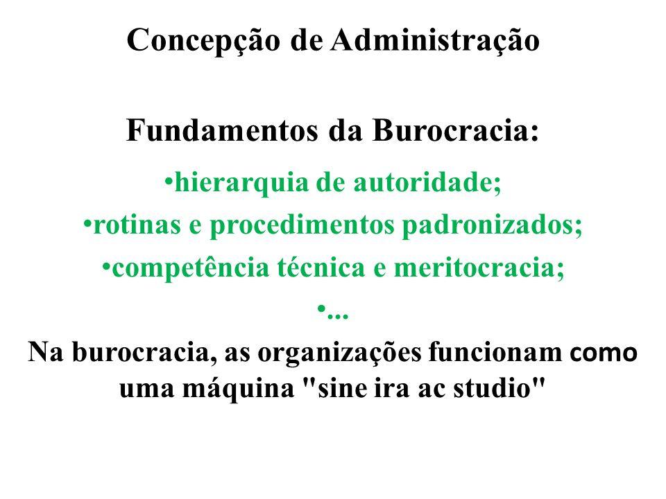 Concepção de Administração Fundamentos da Burocracia: hierarquia de autoridade; rotinas e procedimentos padronizados; competência técnica e meritocrac