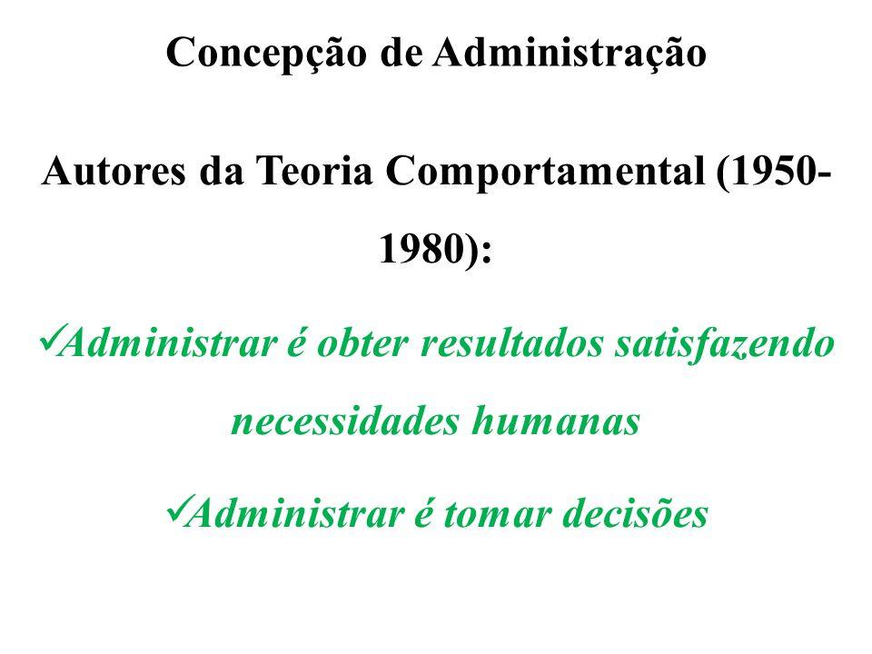Concepção de Administração Autores da Teoria Comportamental (1950- 1980): Administrar é obter resultados satisfazendo necessidades humanas Administrar