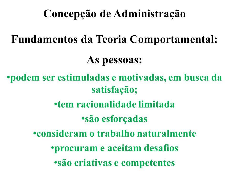 Concepção de Administração Fundamentos da Teoria Comportamental: As pessoas: podem ser estimuladas e motivadas, em busca da satisfação; tem racionalid