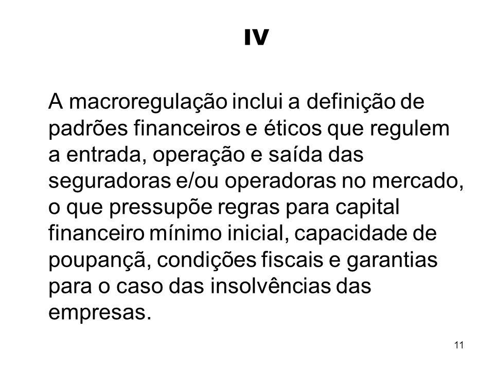 11 IV A macroregulação inclui a definição de padrões financeiros e éticos que regulem a entrada, operação e saída das seguradoras e/ou operadoras no m