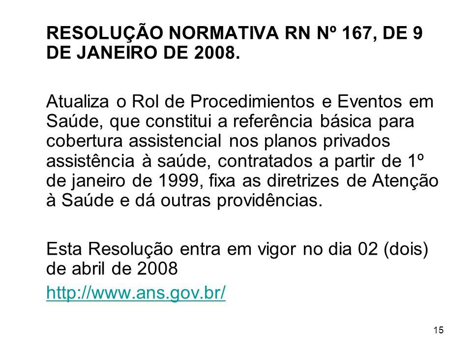 15 RESOLUÇÃO NORMATIVA RN Nº 167, DE 9 DE JANEIRO DE 2008. Atualiza o Rol de Procedimientos e Eventos em Saúde, que constitui a referência básica para