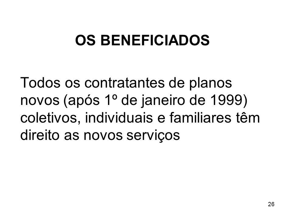 26 OS BENEFICIADOS Todos os contratantes de planos novos (após 1º de janeiro de 1999) coletivos, individuais e familiares têm direito as novos serviço