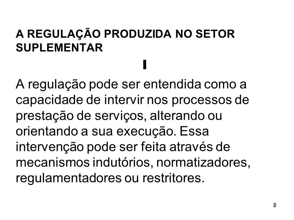 8 A REGULAÇÃO PRODUZIDA NO SETOR SUPLEMENTAR I A regulação pode ser entendida como a capacidade de intervir nos processos de prestação de serviços, al