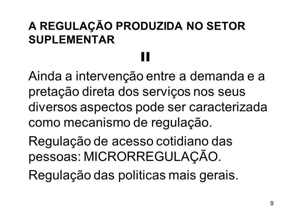 9 A REGULAÇÃO PRODUZIDA NO SETOR SUPLEMENTAR II Ainda a intervenção entre a demanda e a pretação direta dos serviços nos seus diversos aspectos pode s
