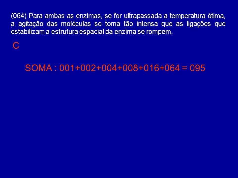 (064) Para ambas as enzimas, se for ultrapassada a temperatura ótima, a agitação das moléculas se torna tão intensa que as ligações que estabilizam a