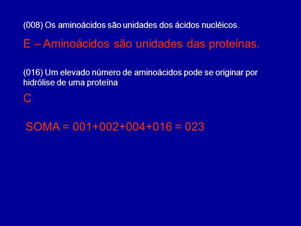 (016) Um elevado número de aminoácidos pode se originar por hidrólise de uma proteína (008) Os aminoácidos são unidades dos ácidos nucléicos. E – Amin