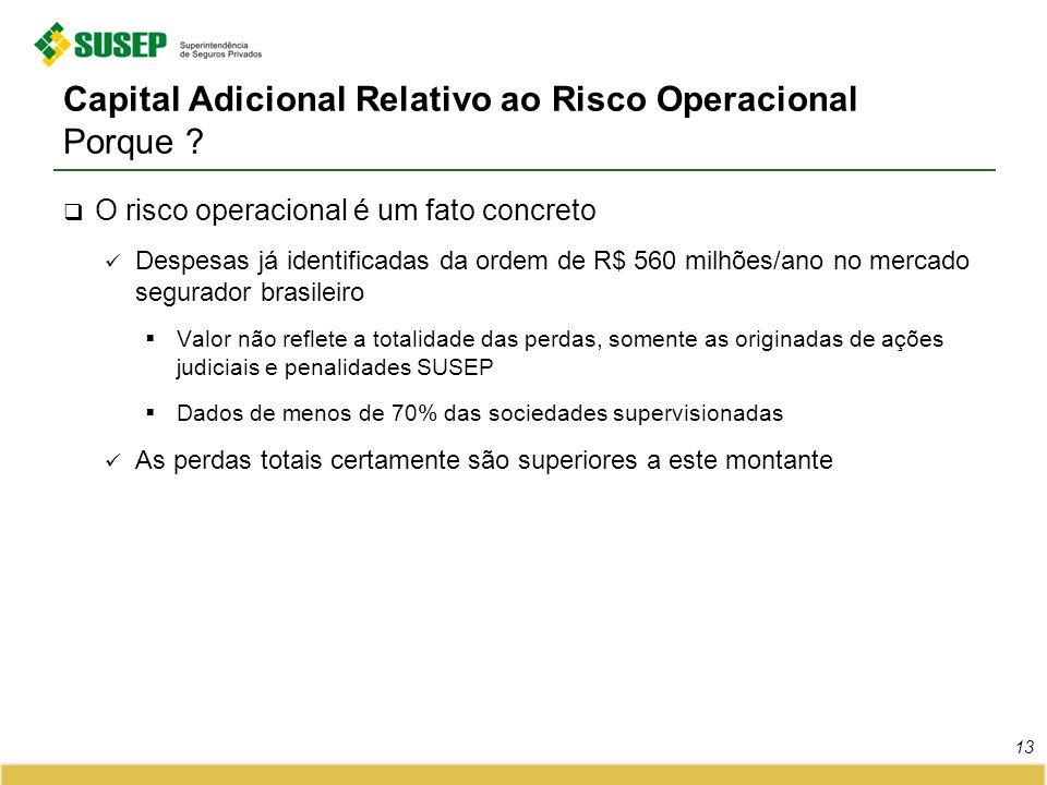 Capital Adicional Relativo ao Risco Operacional Porque ? O risco operacional é um fato concreto Despesas já identificadas da ordem de R$ 560 milhões/a