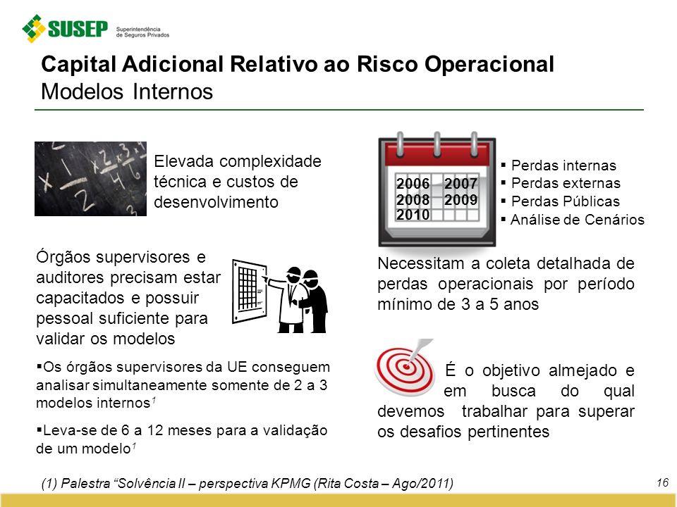 Capital Adicional Relativo ao Risco Operacional Modelos Internos 16 (1) Palestra Solvência II – perspectiva KPMG (Rita Costa – Ago/2011) Elevada compl