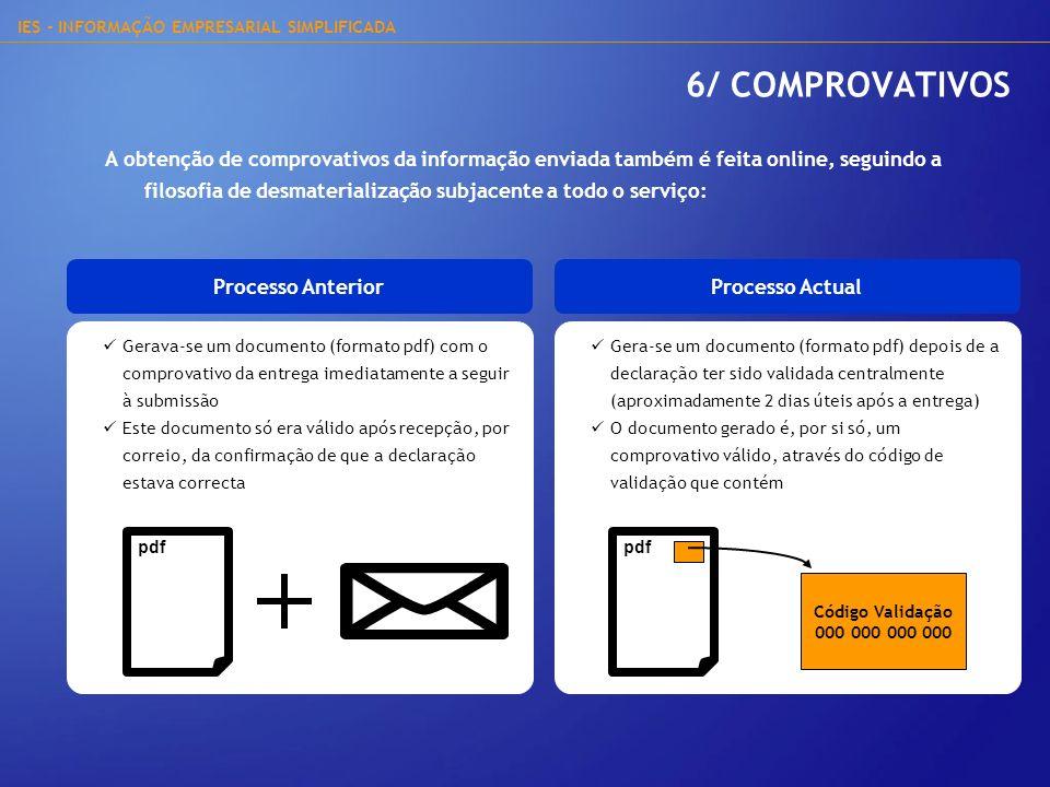 IES - INFORMAÇÃO EMPRESARIAL SIMPLIFICADA Gerava-se um documento (formato pdf) com o comprovativo da entrega imediatamente a seguir à submissão Este d
