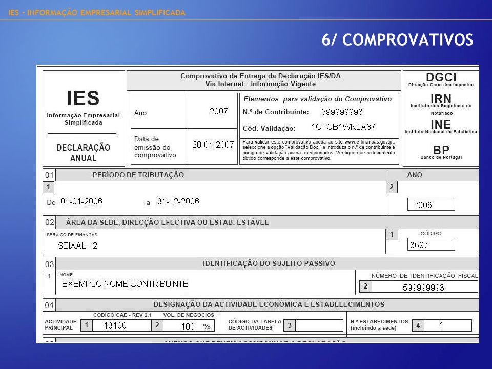 IES - INFORMAÇÃO EMPRESARIAL SIMPLIFICADA 6/ COMPROVATIVOS