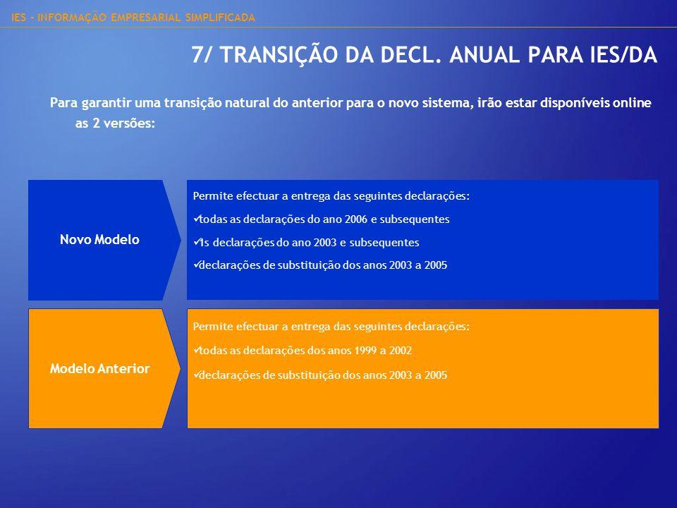 IES - INFORMAÇÃO EMPRESARIAL SIMPLIFICADA 7/ TRANSIÇÃO DA DECL. ANUAL PARA IES/DA Para garantir uma transição natural do anterior para o novo sistema,