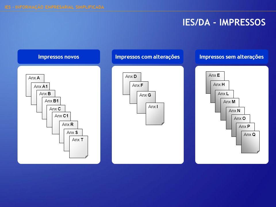 IES - INFORMAÇÃO EMPRESARIAL SIMPLIFICADA IES/DA - IMPRESSOS Impressos novosImpressos sem alterações Anx A Anx A1 Anx B Anx B1 Anx C Anx C1 Anx R Anx
