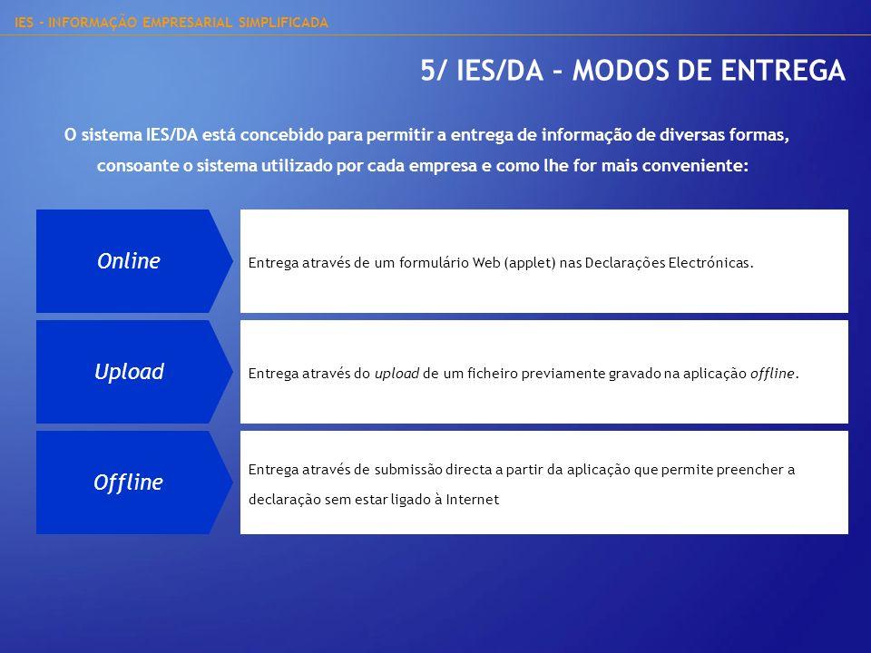 IES - INFORMAÇÃO EMPRESARIAL SIMPLIFICADA 5/ IES/DA – MODOS DE ENTREGA Online Entrega através de um formulário Web (applet) nas Declarações Electrónic