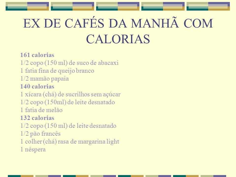 EX DE CAFÉS DA MANHÃ COM CALORIAS 161 calorias 1/2 copo (150 ml) de suco de abacaxi 1 fatia fina de queijo branco 1/2 mamão papaia 140 calorias 1 xíca