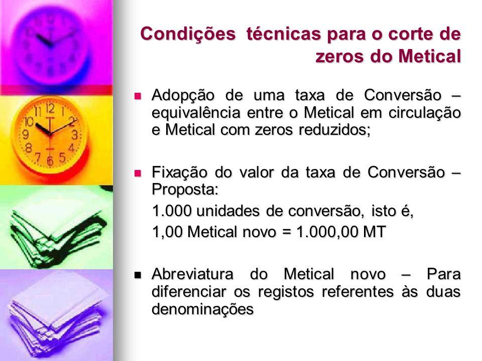 Condições técnicas para o corte de zeros do Metical Adopção de uma taxa de Conversão – equivalência entre o Metical em circulação e Metical com zeros