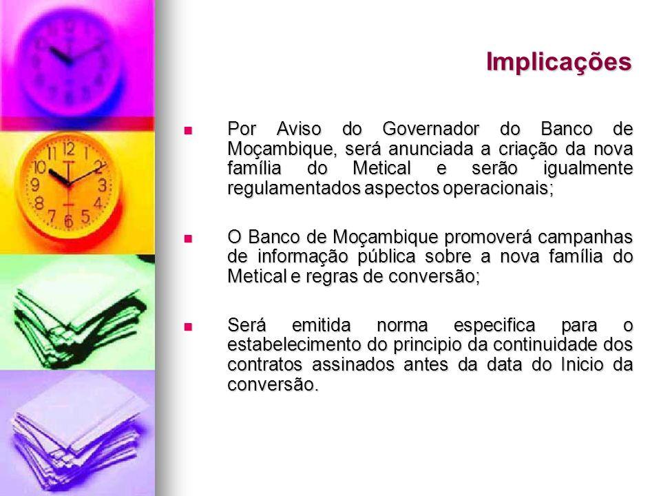 Implicações Por Aviso do Governador do Banco de Moçambique, será anunciada a criação da nova família do Metical e serão igualmente regulamentados aspe