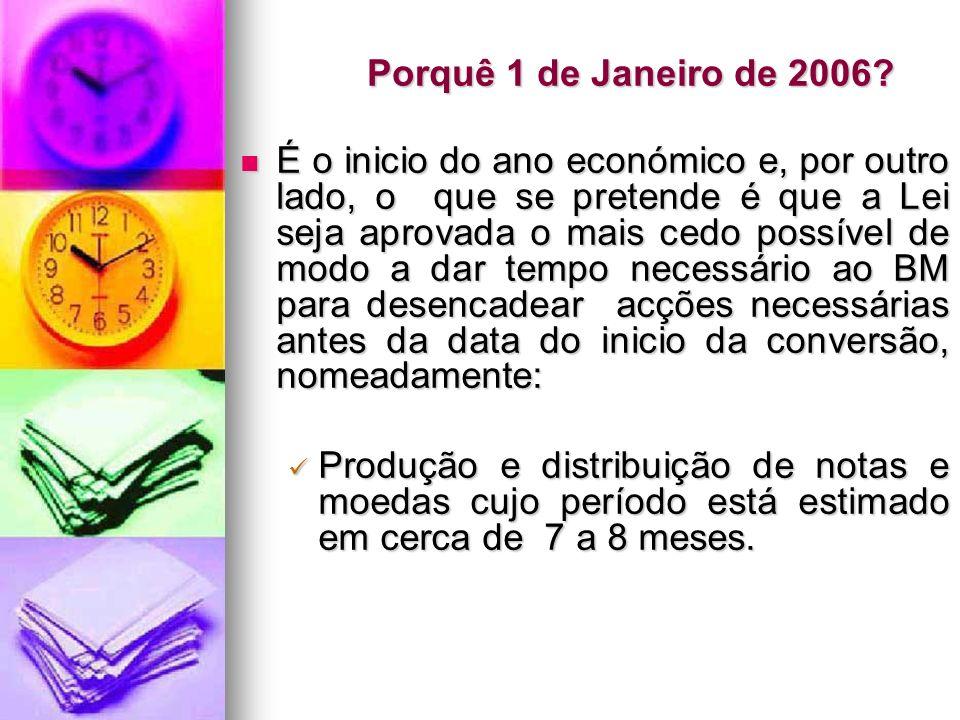Porquê 1 de Janeiro de 2006? É o inicio do ano económico e, por outro lado, o que se pretende é que a Lei seja aprovada o mais cedo possível de modo a