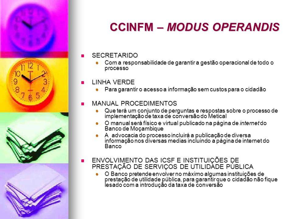 CCINFM – MODUS OPERANDIS SECRETARIDO SECRETARIDO Com a responsabilidade de garantir a gestão operacional de todo o processo Com a responsabilidade de