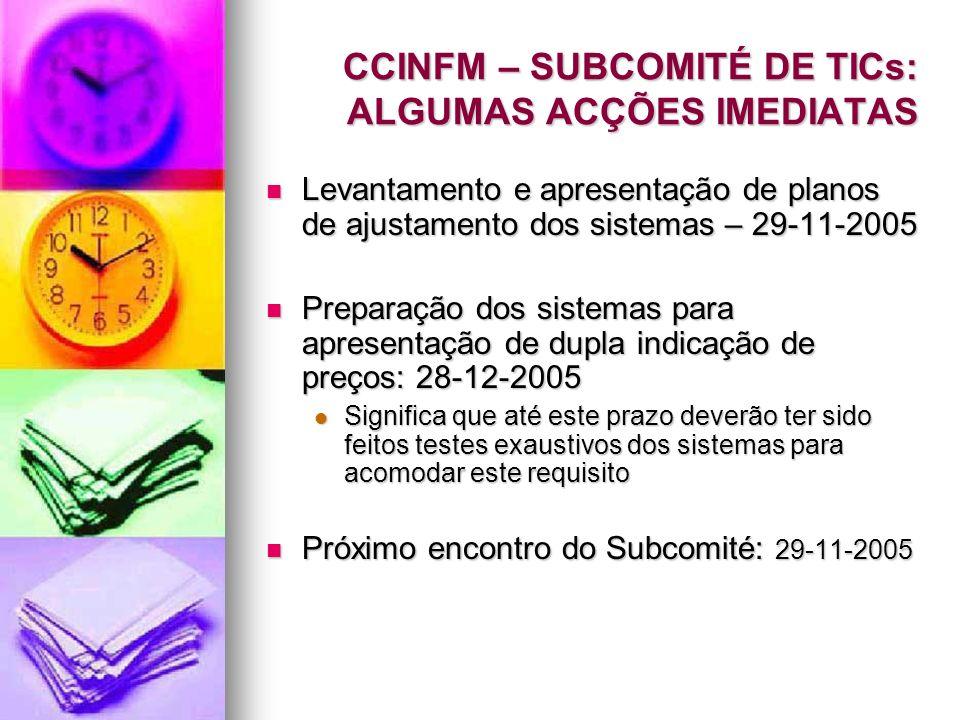 CCINFM – SUBCOMITÉ DE TICs: ALGUMAS ACÇÕES IMEDIATAS Levantamento e apresentação de planos de ajustamento dos sistemas – 29-11-2005 Levantamento e apr