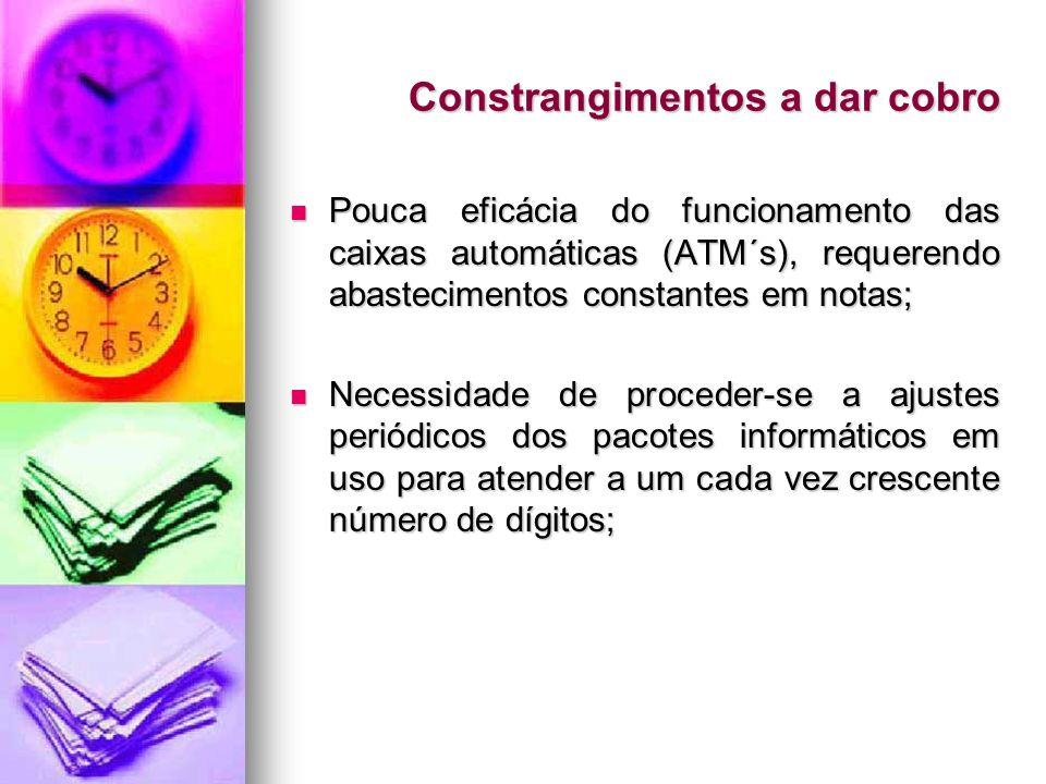 Constrangimentos a dar cobro Pouca eficácia do funcionamento das caixas automáticas (ATM´s), requerendo abastecimentos constantes em notas; Pouca efic