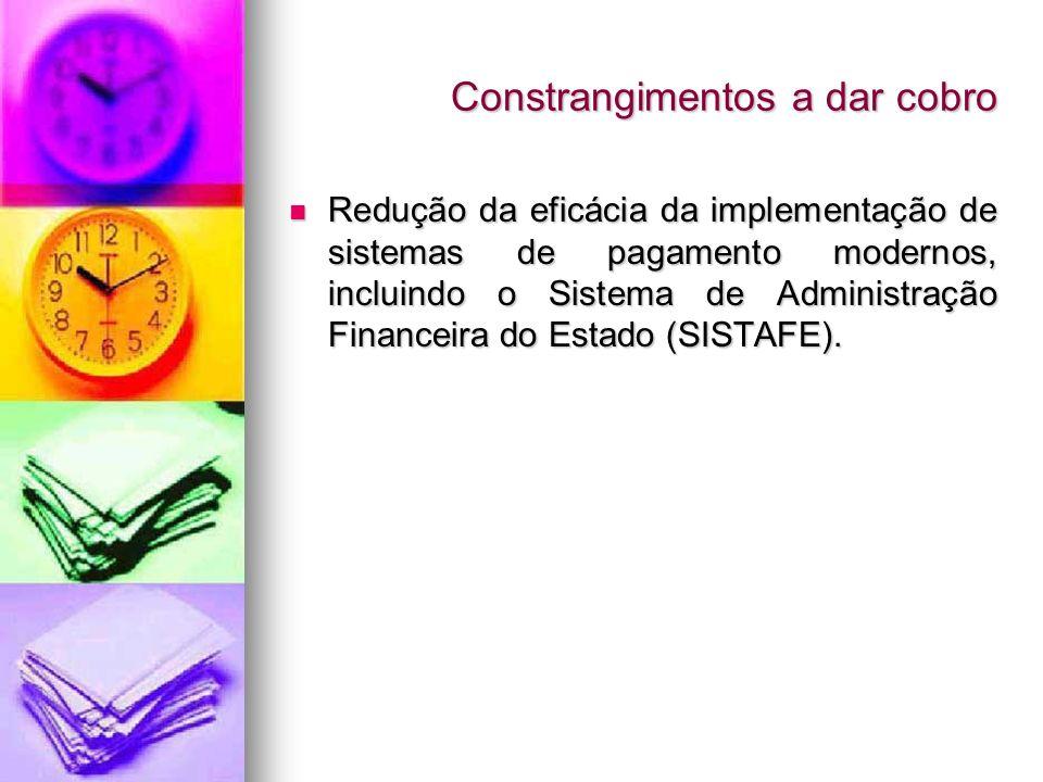Constrangimentos a dar cobro Redução da eficácia da implementação de sistemas de pagamento modernos, incluindo o Sistema de Administração Financeira d