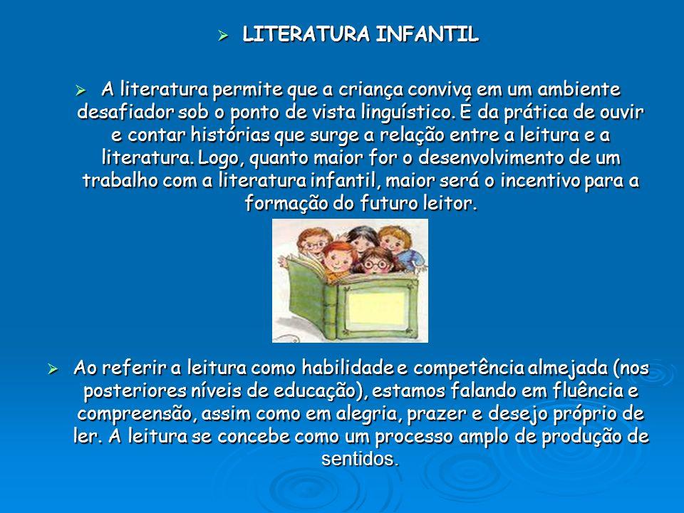LITERATURA INFANTIL LITERATURA INFANTIL A literatura permite que a criança conviva em um ambiente desafiador sob o ponto de vista linguístico. É da pr