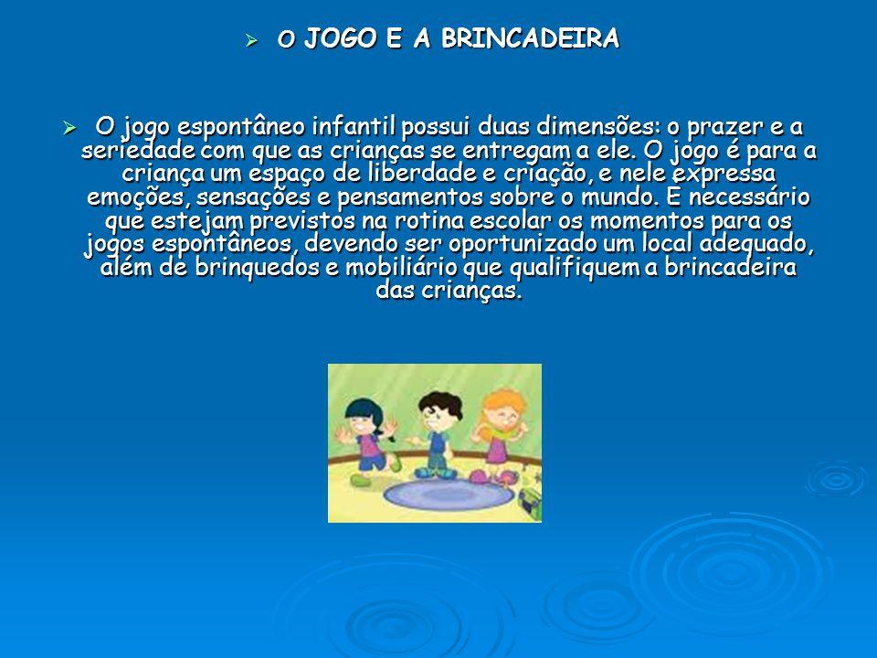 O JOGO E A BRINCADEIRA O JOGO E A BRINCADEIRA O jogo espontâneo infantil possui duas dimensões: o prazer e a seriedade com que as crianças se entregam a ele.