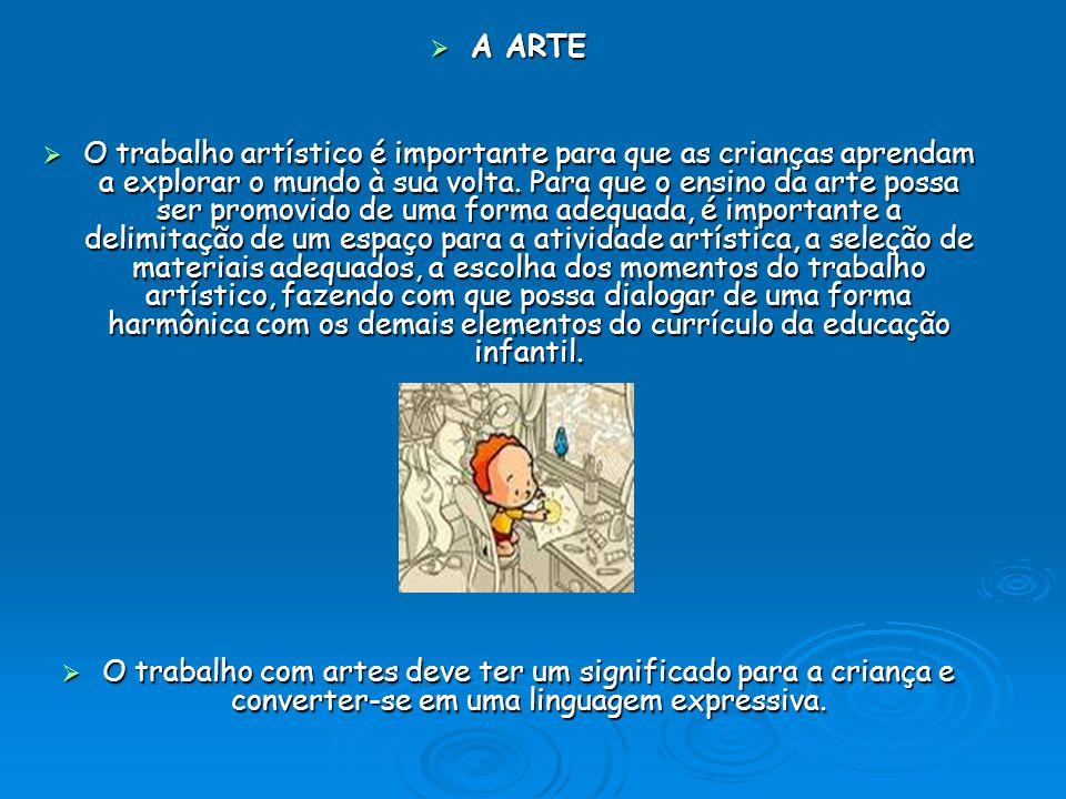 A ARTE A ARTE O trabalho artístico é importante para que as crianças aprendam a explorar o mundo à sua volta. Para que o ensino da arte possa ser prom