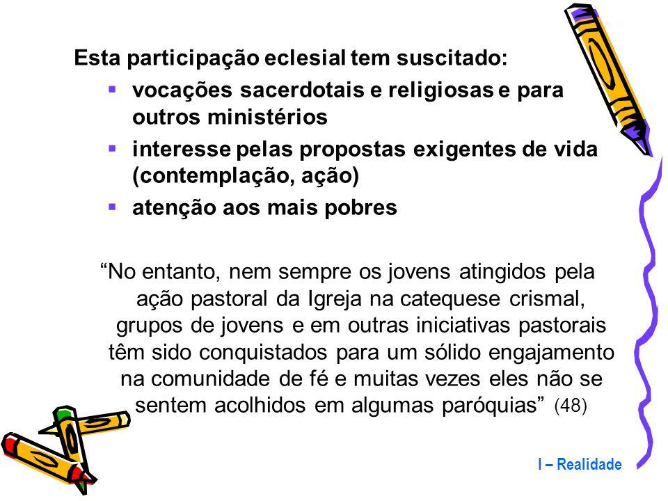 I – Realidade Os jovens participantes estão presentes : nas comunidades eclesiais de base nas paróquias nas equipes de liturgia e de canto como catequ
