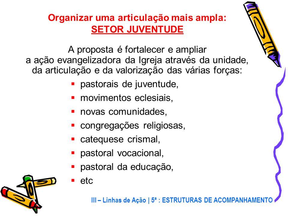 Fortalecer as Estruturas Organizativas: Há uma crise nas estruturas de organização provocada por: cultura individualista, ausência de assessores, pouc