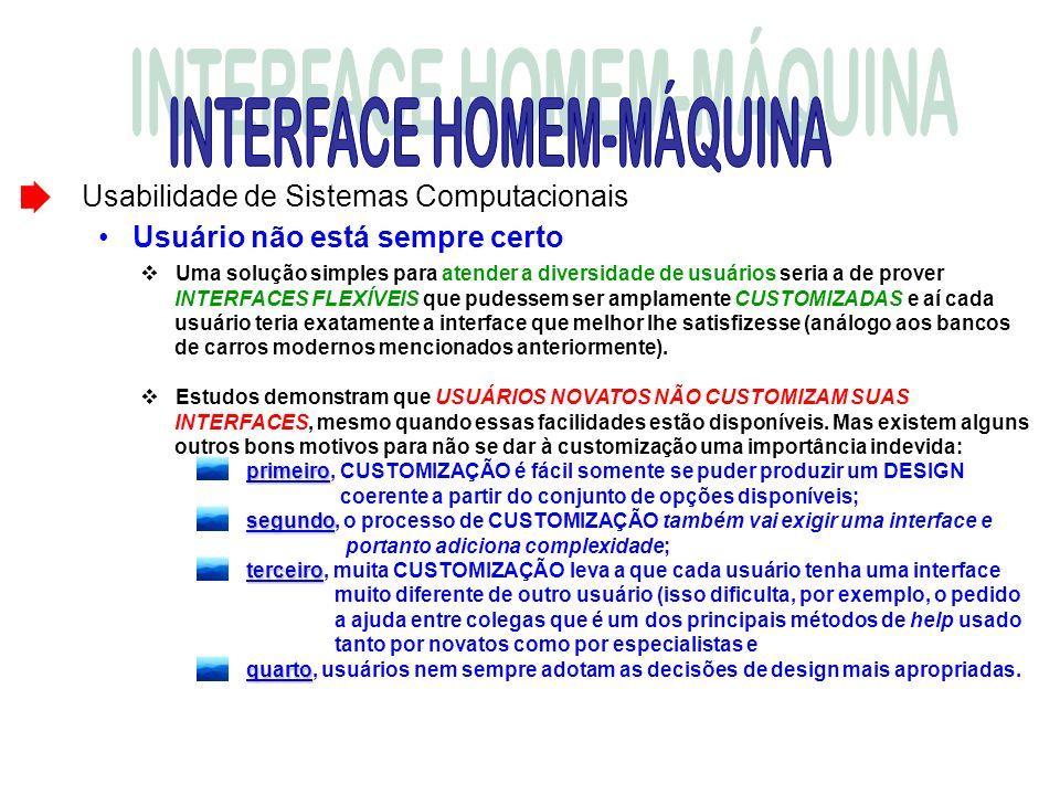 Usabilidade de Sistemas Computacionais Usuário não está sempre certo Uma solução simples para atender a diversidade de usuários seria a de prover INTE